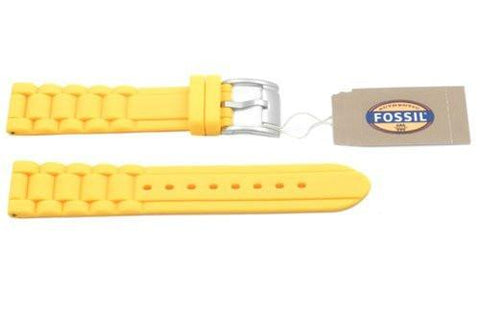 Fossil Yellow Silicone Link Style 18mm Watch Band