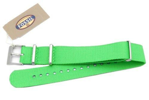 Fossil Light Green Long Nylon 18mm Watch Strap