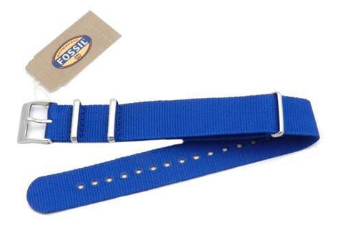 Fossil Blue Long Nylon 18mm Watch Strap