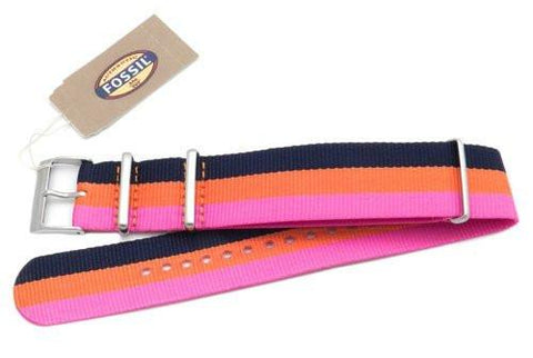 Fossil Pink Orange and Black Striped Long Nylon 18mm Watch Strap