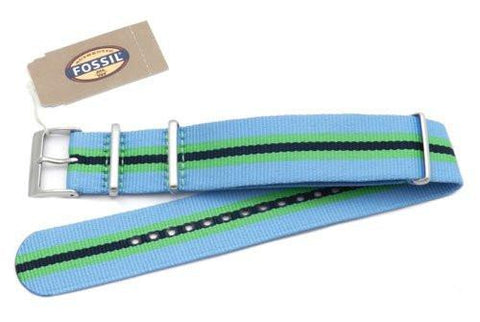 Fossil Light Blue Green and Black Striped Long Nylon 22mm Watch Strap