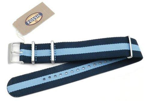 Fossil Navy Blue and Light Blue Long Nylon 22mm Watch Strap