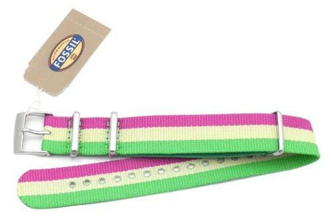 Fossil Purple Yellow and Green Long Nylon 18mm Watch Strap