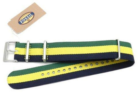 Fossil Green Yellow and Dark Blue Long Nylon 22mm Watch Strap