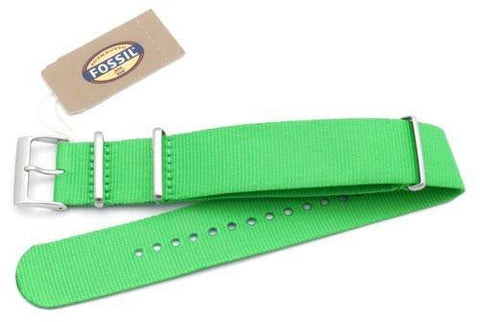 Fossil Light Green Long Nylon 22mm Watch Band