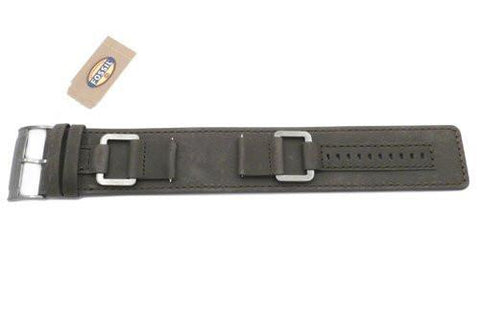 Fossil Gray Genuine Smooth Heirloom Leather 22mm Wide Watch Cuffband