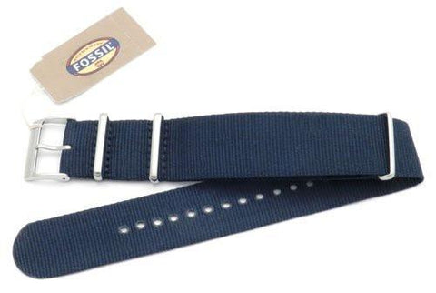 Fossil Navy Blue Long Nylon 22mm Watch Strap
