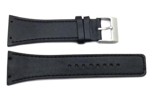 Kenneth Cole Genuine Smooth Black Leather Square Tip 30mm Watch Strap