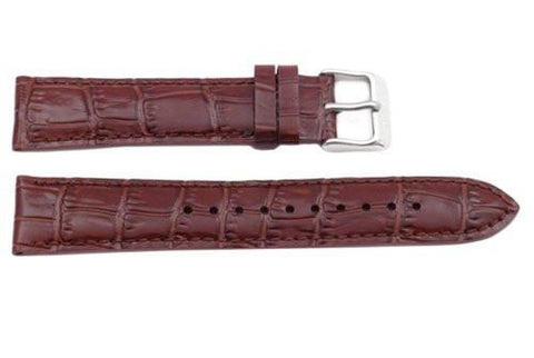 Seiko Genuine Textured Brown Leather Alligator Grain 20mm Watch Band