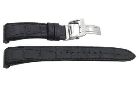 Seiko Genuine Textured Black Leather Alligator Grain 21mm Watch Strap