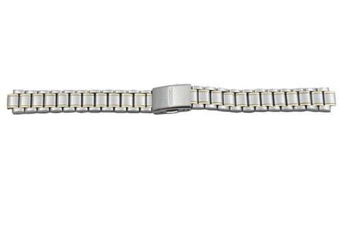Seiko Dual Tone Stainless Steel Fold-Over Push Button Clasp Ladies 13/8mm Watch Band
