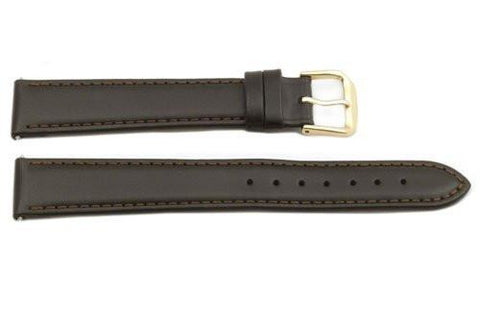 Genuine Smooth Dark Brown Long Leather 18mm Watch Strap