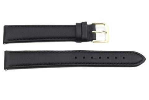 Genuine Smooth Black Long Leather 18mm Watch Band