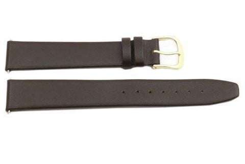 Genuine Smooth Brown Leather Long 18mm Watch Band