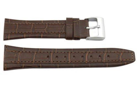 Kenneth Cole Genuine Textured Leather Brown Alligator Grain 26mm Watch Strap