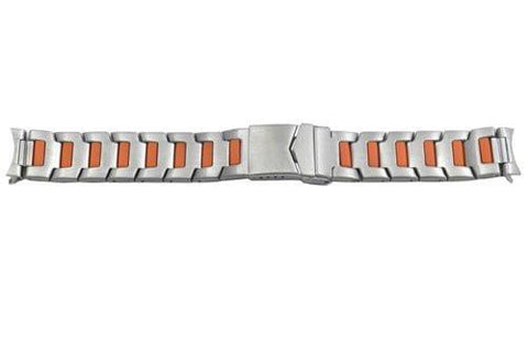 Hadley Roma Stainless Steel with Orange Plating 20mm Watch Bracelet