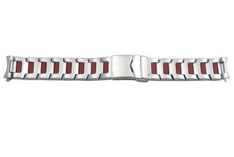 Hadley Roma Stainless Steel with Red Plating 20mm Watch Bracelet