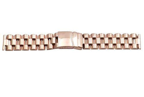 Hadley Roma Wide Rose Gold Tone Ion Plated Stainless Steel Watch Bracelet