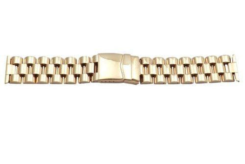 Hadley Roma Wide Gold Tone Ion Plated Stainless Steel Watch Bracelet