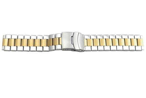 Hadley Roma Wide Dual Tone Ion Plated Stainless Steel Watch Bracelet