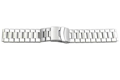 Hadley Roma Wide Silver Tone Ion Plated Stainless Steel Watch Bracelet