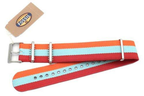 Fossil Orange Light Blue and Red Striped Long Nylon 22mm Watch Strap