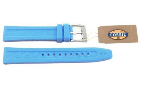 Fossil Aqua Blue Silicone Logo Imprinted 18mm Watch Strap