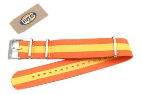 Fossil Orange and Yellow Striped Long Nylon 22mm Watch Band