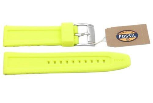 Fossil Neon Yellow Silicone Logo Imprinted 22mm Watch Band