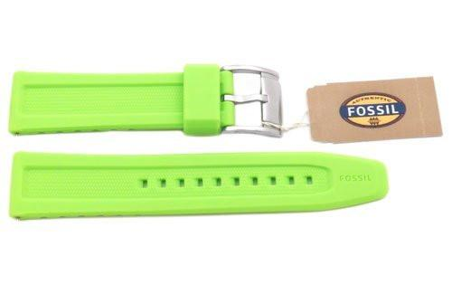 Fossil Light Green Silicone Logo Imprinted 22mm Watch Band