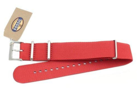 Fossil Red Long Nylon 22mm Watch Strap