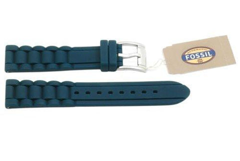 Fossil Teal Link Style Silicone 18mm Watch Strap