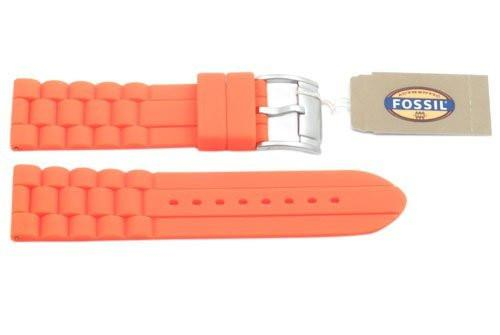 Fossil Orange Link Style Silicone 24mm Watch Strap