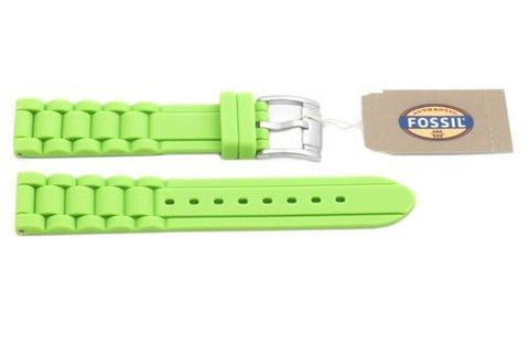 Fossil Lime Green Silicone Logo Imprinted 18mm Watch Strap