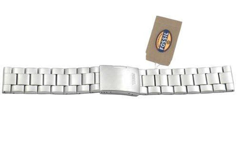 Fossil Silver Tone Stainless Steel 22mm Push Button Clasp Watch Bracelet