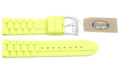 Fossil Neon Yellow Silicone Link Style 24mm Watch Strap