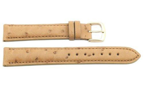 Hadley Roma Natural Genuine Ostrich Leather Watch Strap
