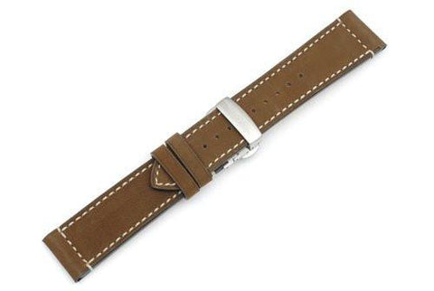 Swiss Army Airboss Series Brown Smooth Leather Deployant Clasp Watch Band