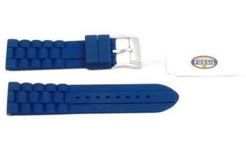 Fossil Navy Blue Link Style Silicone 24mm Watch Band