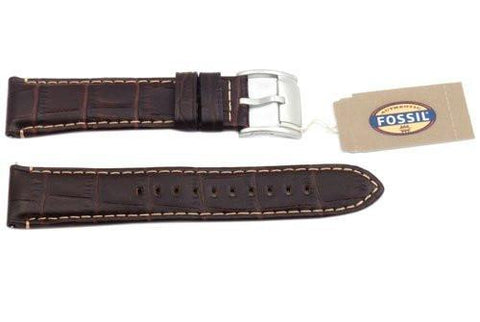 Fossil Genuine Brown Embossed Leather Crocodile Grain 22mm Watch Strap