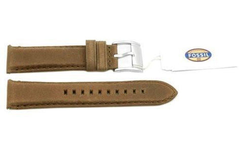 Fossil Genuine Brown Smooth Leather 22mm Watch Strap