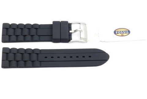 Fossil Gray Link Style Silicone 24mm Watch Band