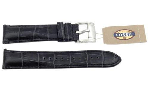 Fossil Genuine Black Embossed Leather Crocodile Grain 22mm Watch Band
