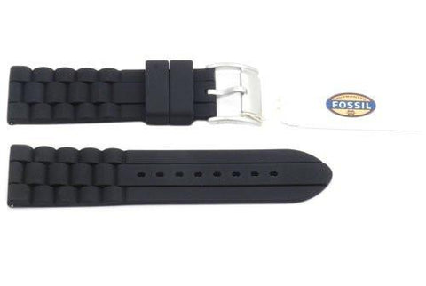 Fossil Black Link Style Silicone 24mm Watch Strap