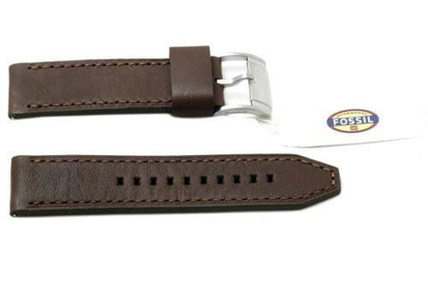 Fossil Dark Brown Genuine Smooth Leather Silver Tone Buckle 24mm Watch Band