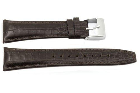 Kenneth Cole Genuine Textured Leather Brown Crocodile Grain 26mm Watch Strap
