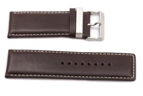Kenneth Cole Genuine Smooth Brown Leather Square Tip 32mm Watch Strap