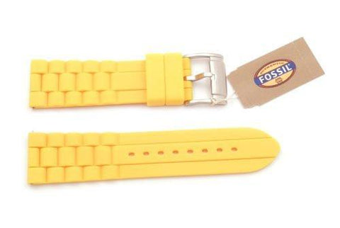 Fossil Yellow Silicone Link Style 24mm Watch Strap