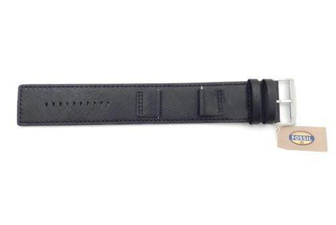 Fossil Black Smooth Leather 24mm Wide Watch Cuffband