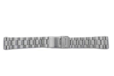 Seiko Silver Tone Stainless Steel Fold-Over Push Button Clasp 21mm Watch Bracelet